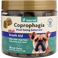 NaturVet Coprophagia Deterrent Plus Breath Aid Dog Soft Chews, 130 count