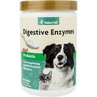 NaturVet Digestive Enzymes Plus Probiotic Dog & Cat Powder Supplement, 1-lb