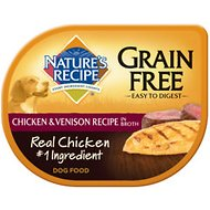Nature's Recipe Grain-Free Chicken & Venison Recipe in Broth Wet Dog Food, 2.75-oz, case of 24