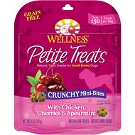 Wellness Petite Treats Crunchy Mini-Bites with Chicken, Cherries & Spearmint Grain-Free Dog Treats, 6-oz bag