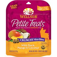 Wellness Petite Treats Crunchy Mini-Bites with Duck, Mango & Coconut Grain-Free Dog Treats, 6-oz bag