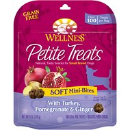 Wellness Petite Treats Soft Mini-Bites with Turkey, Pomegranate & Ginger Grain-Free Dog Treats, 6-oz bag