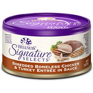 Wellness Signature Selects Shredded White Meat Chicken & Turkey Entree in Sauce Grain-Free Canned Cat Food, 2.8-oz, case of 24