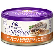 Wellness Signature Selects Shredded White Meat Chicken & Beef Entree in Sauce Grain-Free Canned Cat Food, 2.8-oz, case of 24