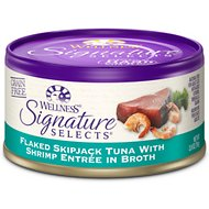 Wellness Signature Selects Flaked Skipjack Tuna with Shrimp Entree in Broth Grain-Free Canned Cat Food, 2.8-oz, case of 24
