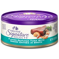 Wellness Signature Selects Flaked Skipjack Tuna with Shrimp Entree in Broth Canned Cat Food, 5.3-oz, case of 24