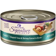 Wellness Signature Selects Flaked Skipjack Tuna with Wild Salmon Entree in Broth Grain-Free Canned Cat Food, 5.3-oz, case of 24