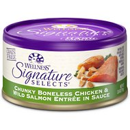 Wellness Signature Selects Chunky White Meat Chicken & Wild Salmon Entree in Sauce Grain-Free Canned Cat Food, 2.8-oz, case of 24
