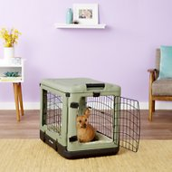 Pet Gear The Other Door Steel Crate & Plush Pad, Sage, Small