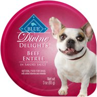 Blue Buffalo Divine Delights Beef Entree in Savory Sauce Wet Dog Food, 3-oz tray, case of 12