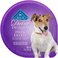 Blue Buffalo Divine Delights Duck Entree in Savory Sauce Wet Dog Food, 3-oz tray, case of 12