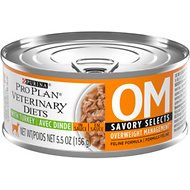 Purina Pro Plan Veterinary Diets OM Savory Selects Overweight Management Formula Canned Cat Food, 5.5-oz, case of 24