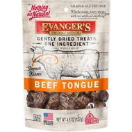 Evanger's Nothing but Natural Beef Tongue Gently Dried Dog & Cat Treats, 4.6-oz bag