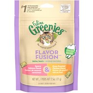 Greenies Feline Flavor Fusion Savory Salmon & Oven Roasted Chicken Flavor Dental Cat Treats, 2.5-oz bag