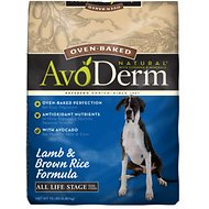 AvoDerm Natural Oven-Baked Lamb & Brown Rice Formula All Life Stages Dry Dog Food, 15-lb bag