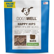 Dogswell Happy Hips Jerky Bars Chicken & Veggies Dog Treats, 32-oz bag