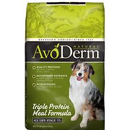AvoDerm Natural Triple Protein Meal Formula All Life Stages Dry Dog Food, 30-lb bag