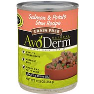 AvoDerm Natural Grain-Free Salmon & Potato Stew Recipe Adult & Puppy Canned Dog Food, 12.5-oz, case of 12