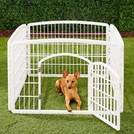 IRIS 4-Panel Exercise Plastic Playpen with Door, White