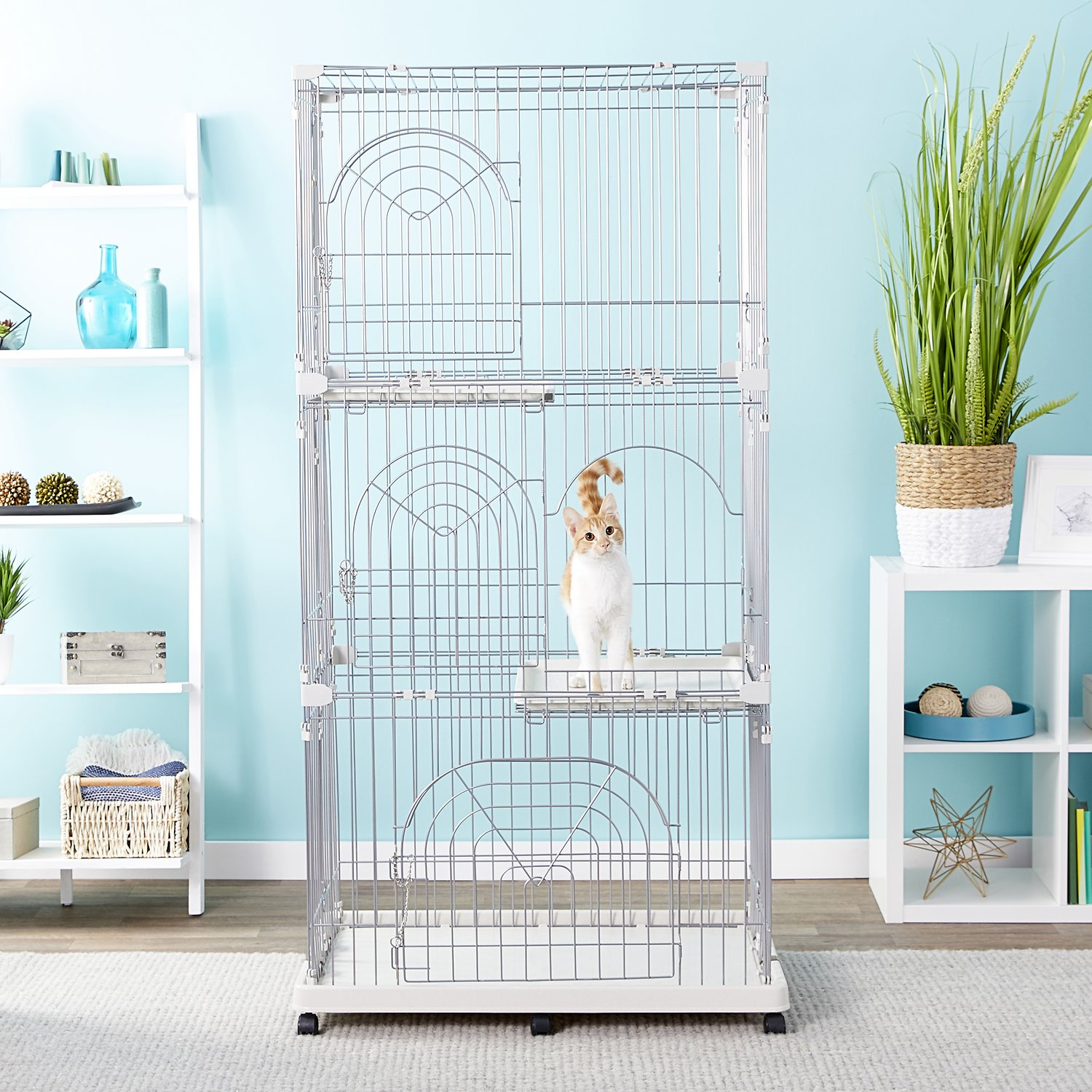 Iris Multi Story Wire Cat Play Pen 3 Story Chewy Com