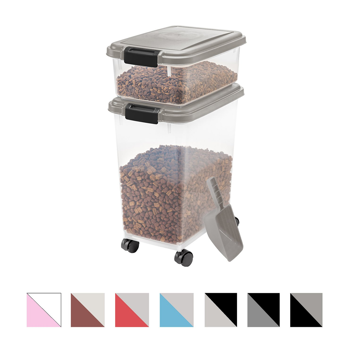 Beautiful IRIS Airtight Food Storage Container U0026 Scoop Combo, Chrome/Black   Chewy.com