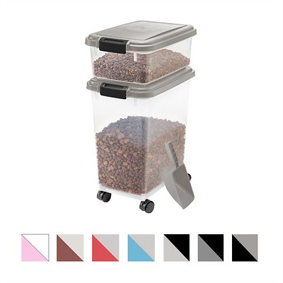 Medium image of iris airtight food storage container  u0026 scoop combo chrome black   chewy com