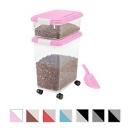 IRIS Airtight Food Storage Container & Scoop Combo, Pink/White