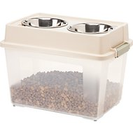 IRIS Elevated Feeder with Airtight Food Storage, Almond/Sage, Large