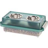 IRIS Elevated Feeder with Airtight Food Storage, Green/Gray, Small