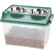 IRIS Elevated Feeder with Airtight Food Storage, Green/Gray, Large