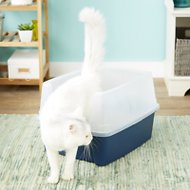 IRIS Open Top Litter Box with Shield & Scoop, Navy