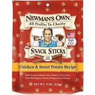 Newman's Own Organics Chicken & Sweet Potato Recipe Snack Sticks Dog Treats, 4-oz bag