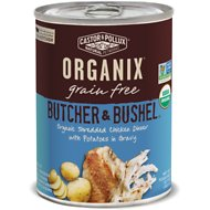 Castor & Pollux Organix Grain Free Butcher & Bushel Shredded Chicken Dinner in Gravy All Life Stages Canned Dog Food, 12.7-oz, case of 12