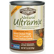 Castor & Pollux Natural Ultramix Whole Chicken Thigh, Fresh Cut Carrots & Sweet Potatoes Entree Grain-Free Adult Canned Dog Food, 13.2-oz, case of 12