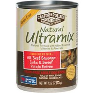 Castor & Pollux Natural Ultramix All-Beef Sausage Links & Sweet Potato Entree Grain-Free Adult Canned Dog Food, 13.2-oz, case of 12