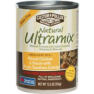 Castor & Pollux Natural Ultramix Minced Chicken & Bacon with Fresh Tomatoes Entree Grain-Free Adult Canned Dog Food, 13.2-oz, case of 12