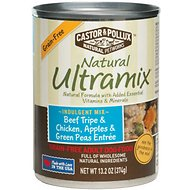 Castor & Pollux Natural Ultramix Beef Tripe & Chicken, Apples & Green Peas Entree Grain-Free Adult Canned Dog Food, 13.2-oz, case of 12