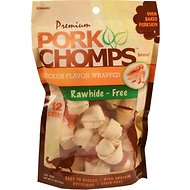 Premium Pork Chomps Chicken Flavor Wrapped Knotz Dog Treats, 2.5-in, 12 count