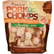 Premium Pork Chomps Chicken Flavor Wrapped Knotz Dog Treats, 3-4-inch, 18 count