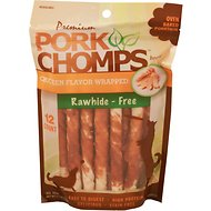 Premium Pork Chomps Chicken Flavor Wrapped Twists Dog Treats, Mini, 12 count