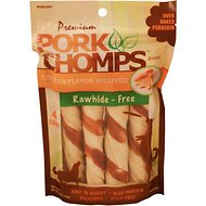 Premium Pork Chomps Chicken Flavor Wrapped Twists Dog Treats, Large, 4 count