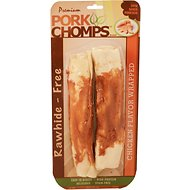 Premium Pork Chomps Chicken Flavor Wrapped Rolls Dog Treats, 8-in roll, 2 pack