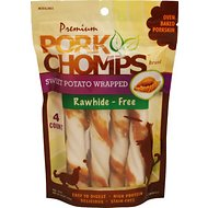 Premium Pork Chomps Sweet Potato Wrapped Twists Dog Treats, Large, 4 count