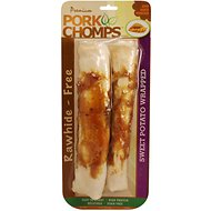 Premium Pork Chomps Sweet Potato Wrapped Rolls Dog Treats, 8-inch roll, 2 pack