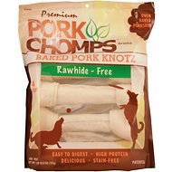 Premium Pork Chomps Baked Knotz Dog Treats, 10-11-inch, 4 count