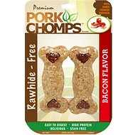 Premium Pork Chomps Bacon Flavor Crunchy Bone Dog Treats, 4-in