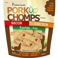 Premium Pork Chomps Assorted Flavors Crunchy Bone Dog Treats, 12-count bag