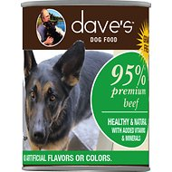 Dave's Pet Food 95% Premium Meats Grain-Free Beef Recipe Canned Dog Food, 13-oz, case of 12