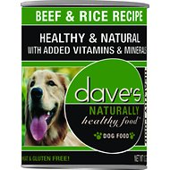 Dave's Pet Food Naturally Healthy Beef & Rice Recipe Canned Dog Food, 13.2-oz, case of 12