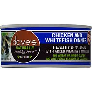 Dave's Pet Food Naturally Healthy Grain-Free Chicken & Whitefish Dinner Canned Cat Food, 5.5-oz, case of 24